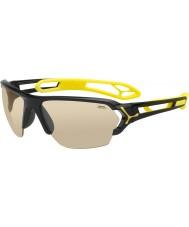 Cebe S-Spur große glänzende schwarze Sonnenbrille