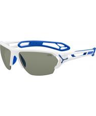 Cebe S-Spur große glänzende weiße Sonnenbrille