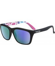 Bolle 527 Retro Sammlung matt schwarz Grafiken polarisiert blau-violette Sonnenbrille