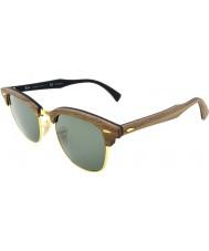 RayBan Rb3016m 51 Clubmaster-Holz Nussbaum Gummi schwarz 118.158 polarisierten Sonnenbrillen