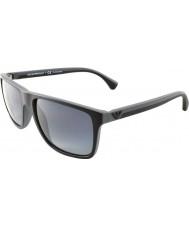 Emporio Armani Ea4033 56 moderne schwarz grau Gummi 5229t3 polarisierte Sonnenbrille
