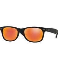 RayBan RB2132 52 neue Wayfarer Gummi schwarz 622-69 rot Sonnenbrille Spiegel