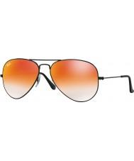 RayBan RB3025 55 Flieger groß Metall glänzend schwarz 002-4w rot Sonnenbrille Spiegel
