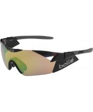 Bolle 6. Sinn glänzend schwarz Modulator braun Smaragd Sonnenbrille