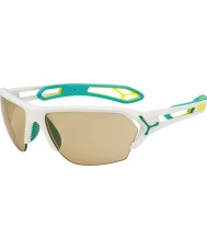 Cebe S-Spur große matt weiß türkis variochrom perfo Sonnenbrille mit 500 klar Ersatzlinse