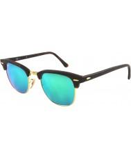 RayBan RB3016 51 Clubmaster Sand Schildpatt-gold 114519 grün Sonnenbrille Spiegel