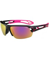 Cebe S-Spur Medium glänzend schwarz magenta 1500 grau Spiegel rosa Sonnenbrille mit klaren Ersatzlinse