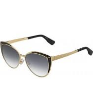 Jimmy Choo Damen domi-s PSU 9c Gold schwarze Sonnenbrille